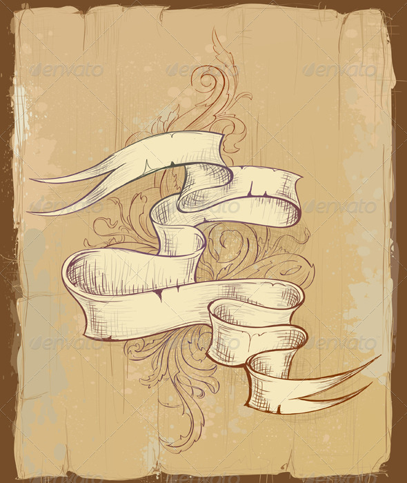 Vintage Design of Ribbon with Beautiful Pattern - Backgrounds Decorative