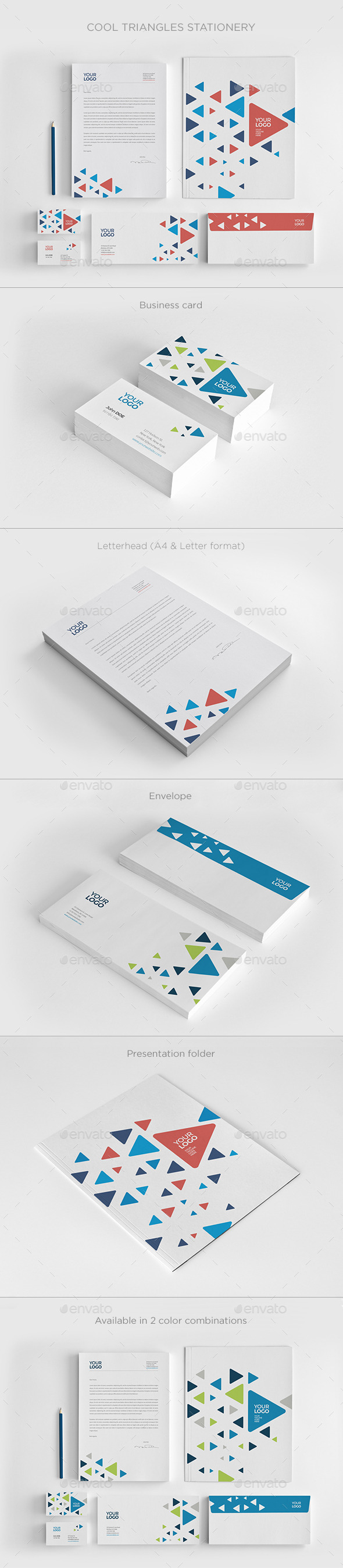 Cool Triangles Stationery - Stationery Print Templates