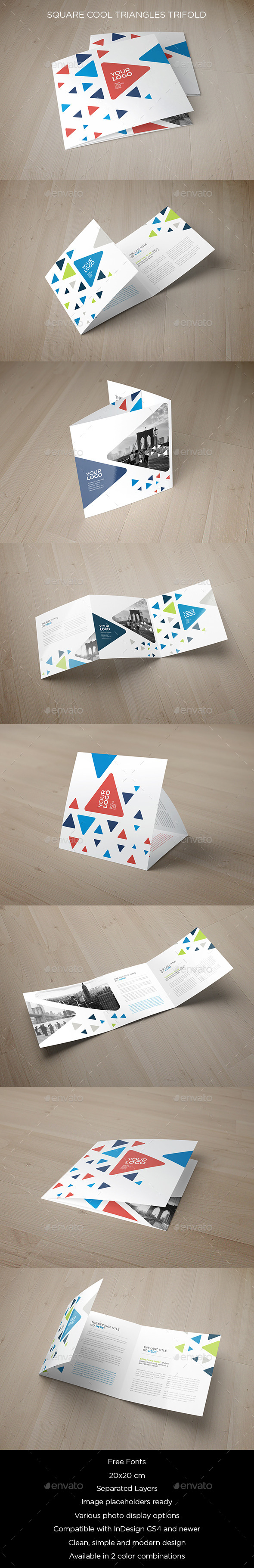 Square Cool Triangles Trifold - Brochures Print Templates