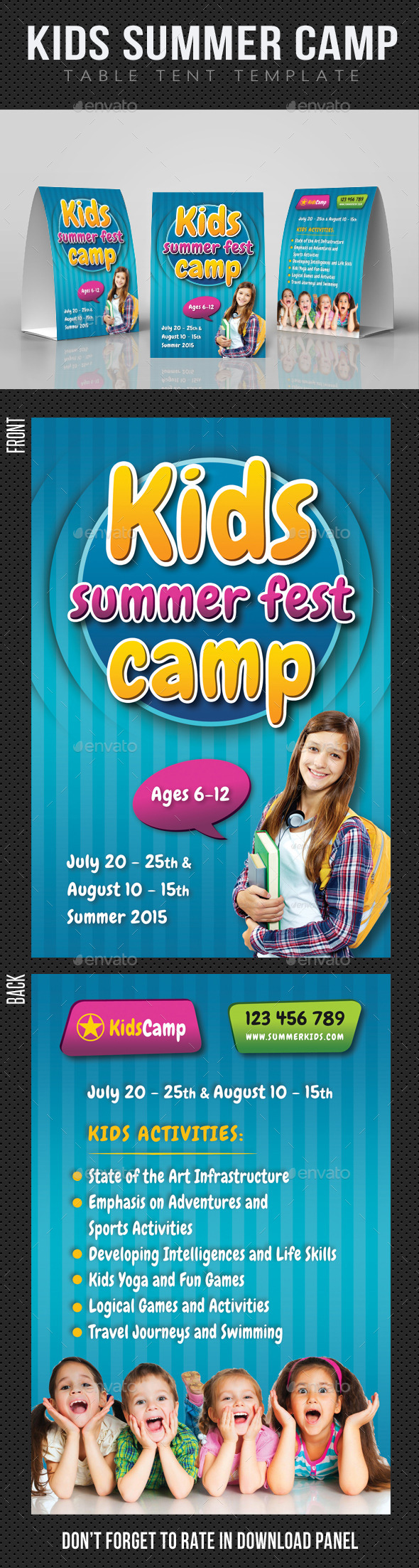 Kids Summer Camp Table Tent Template