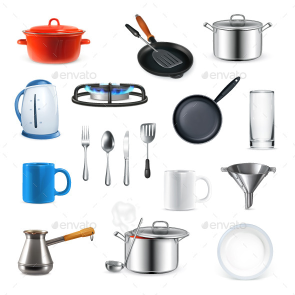 Kitchen Utensils Icons - Man-made Objects Objects