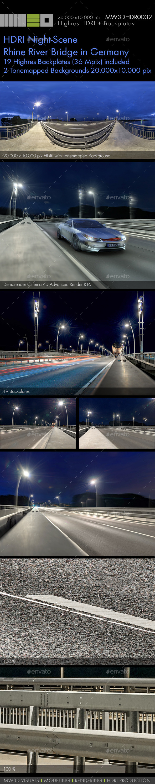 MW3DHDR0032 HDRI Night-Scene Rhine River Bridge - 3DOcean Item for Sale