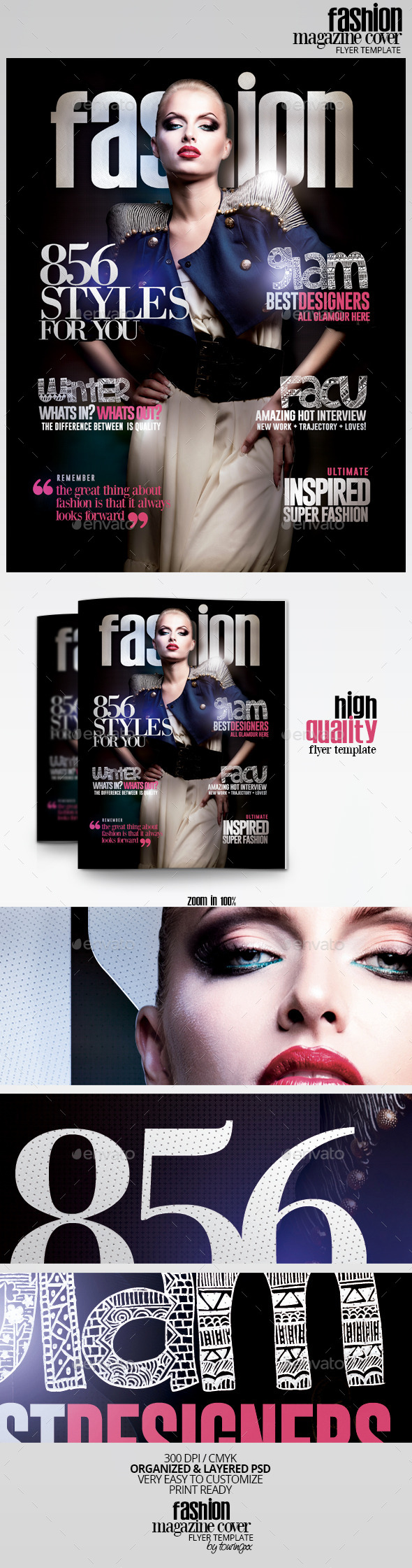 Fashion Magazine Cover Flyer Template - Flyers Print Templates
