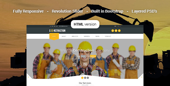 Construction – Industrial HTML5 Template