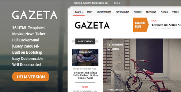 Gazeta 1 – Responsive Magazine & News Template