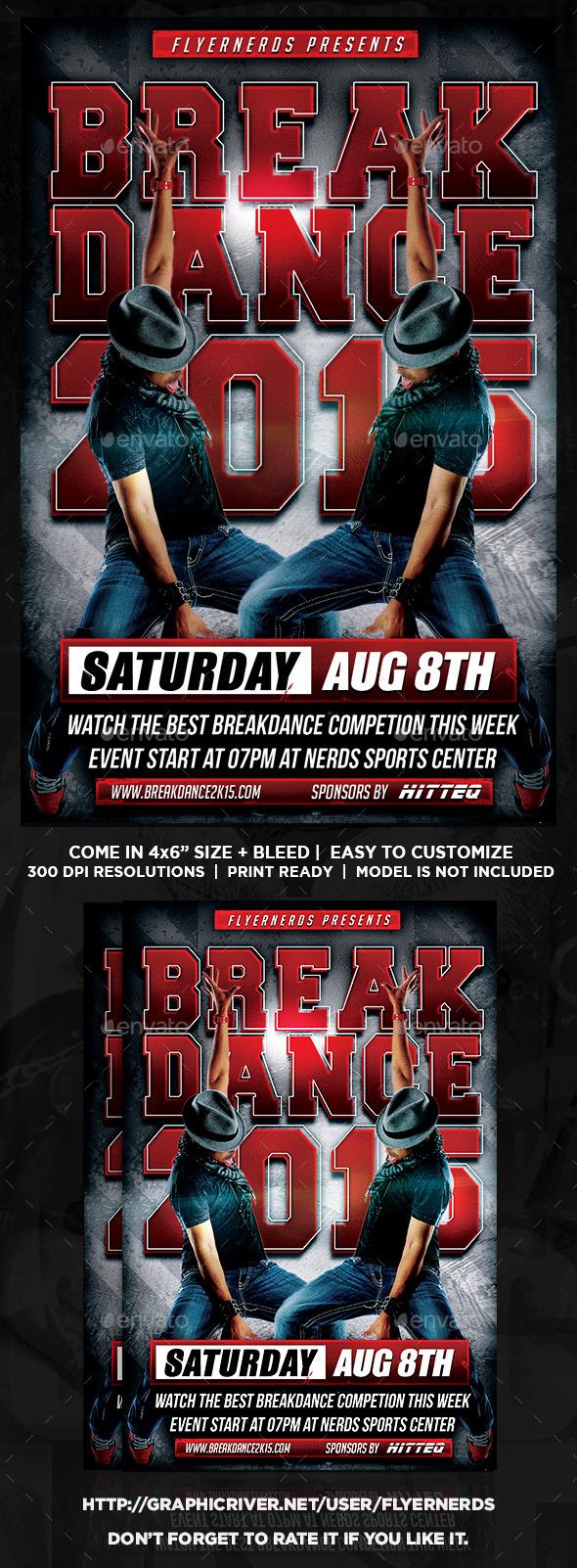 Break Dance 2K15 Competion Sports Flyer - Sports Events
