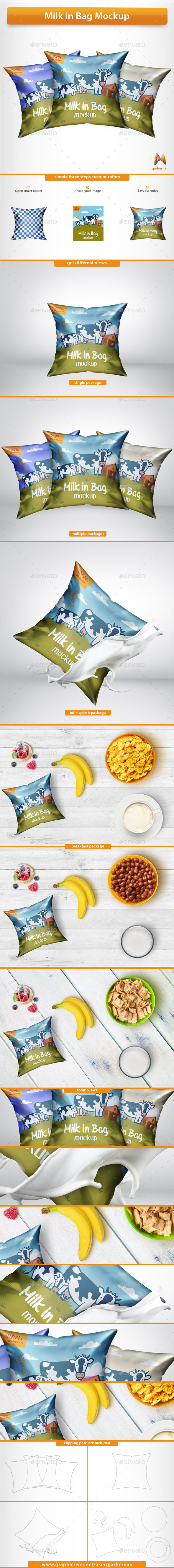 Milk Bag Mockup - Food and Drink Packaging