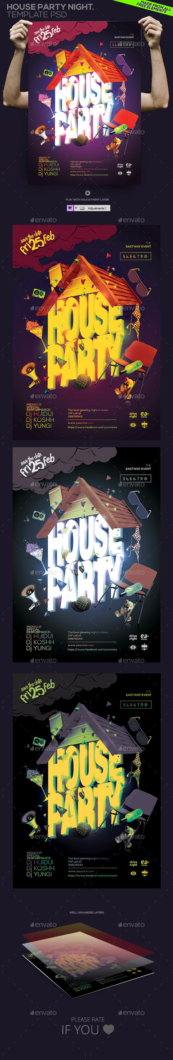 House Party Night Template - Clubs & Parties Events