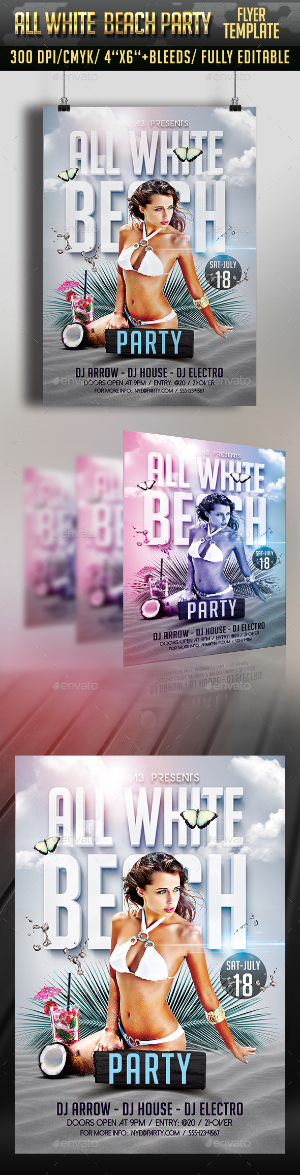All White Beach Party Flyer - Clubs & Parties Events