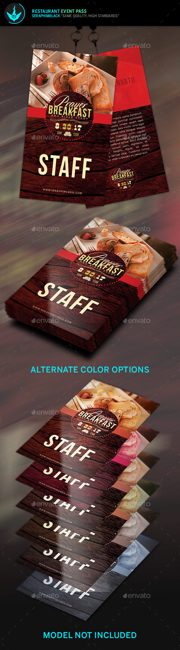 Restaurant Event Pass Template - Miscellaneous Print Templates