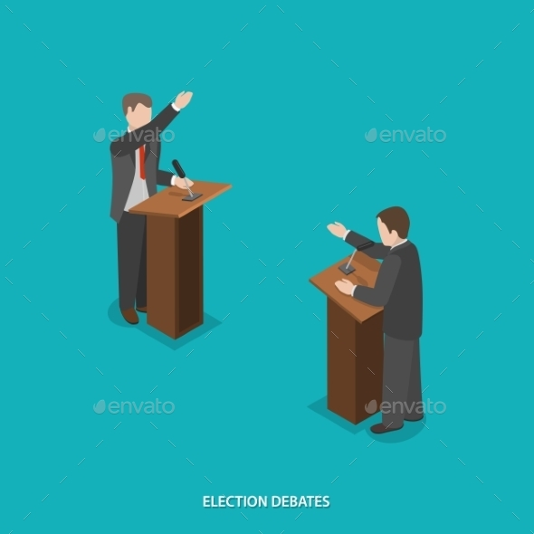 Election Debates Flat Isometric Vector. - Concepts Business