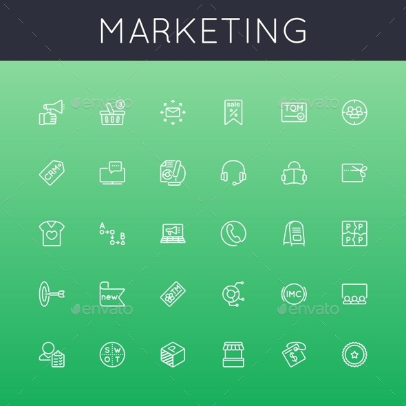 Vector Marketing Line Icons - Business Icons