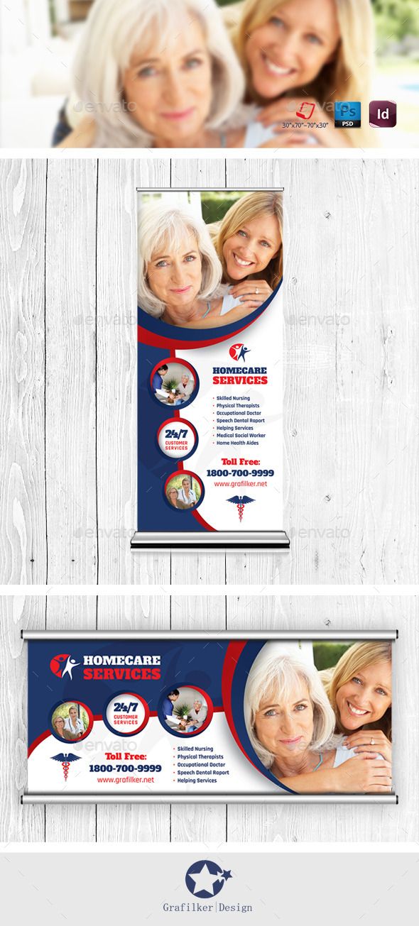 Home Care Billboard & Roll-Up Templates - Signage Print Templates