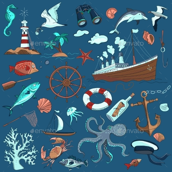 Colored Hand-drawn Elements Of Marine Theme - Travel Conceptual