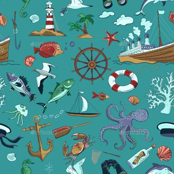 Colored Nautical Or Marine Themed Seamless Pattern - Travel Conceptual