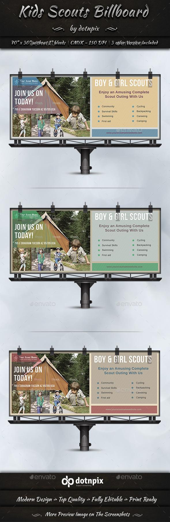 Kids Scouts Billboard  - Signage Print Templates