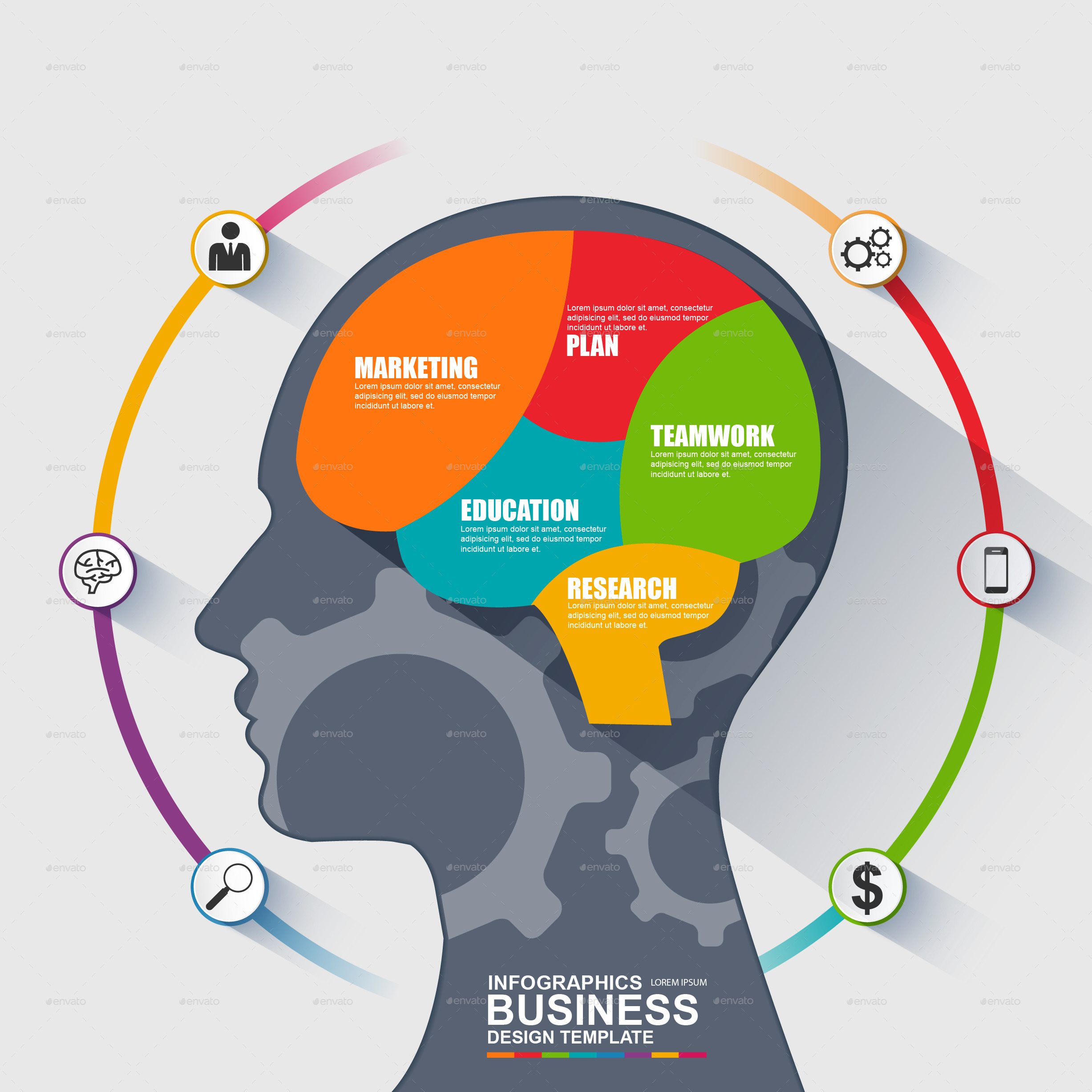 Infographic Business Brain Vector Design By Alexdndz