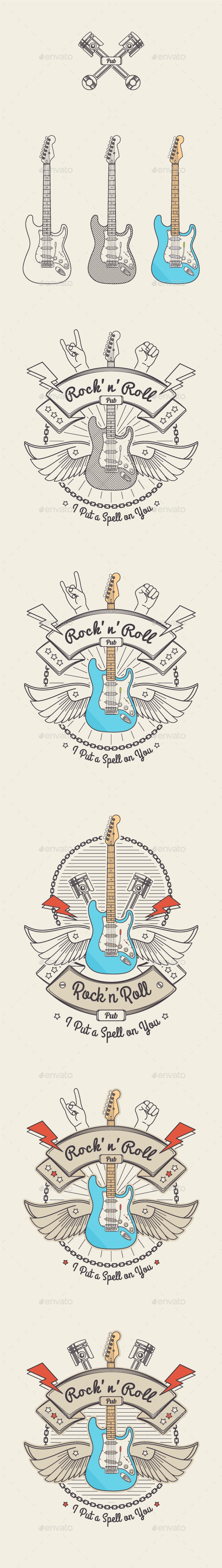 Trendy Retro Vintage Insignias with Guitar. - Tattoos Vectors
