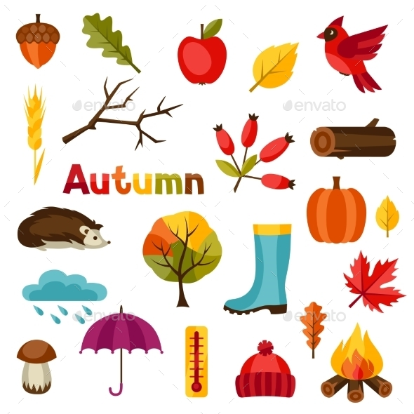 Autumn Icon And Objects Set For Design - Seasons Nature