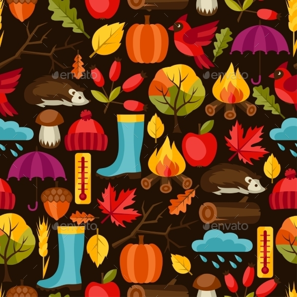 Seamless Pattern With Autumn Icons And Objects - Seasons Nature