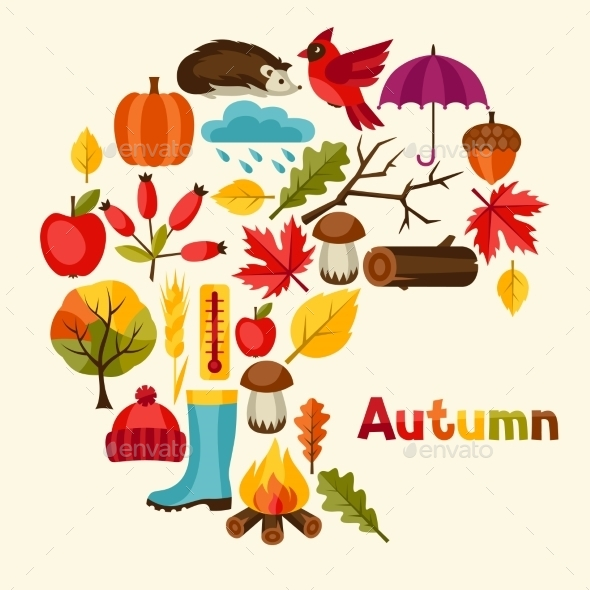 Background Design With Autumn Icons And Objects - Seasons Nature
