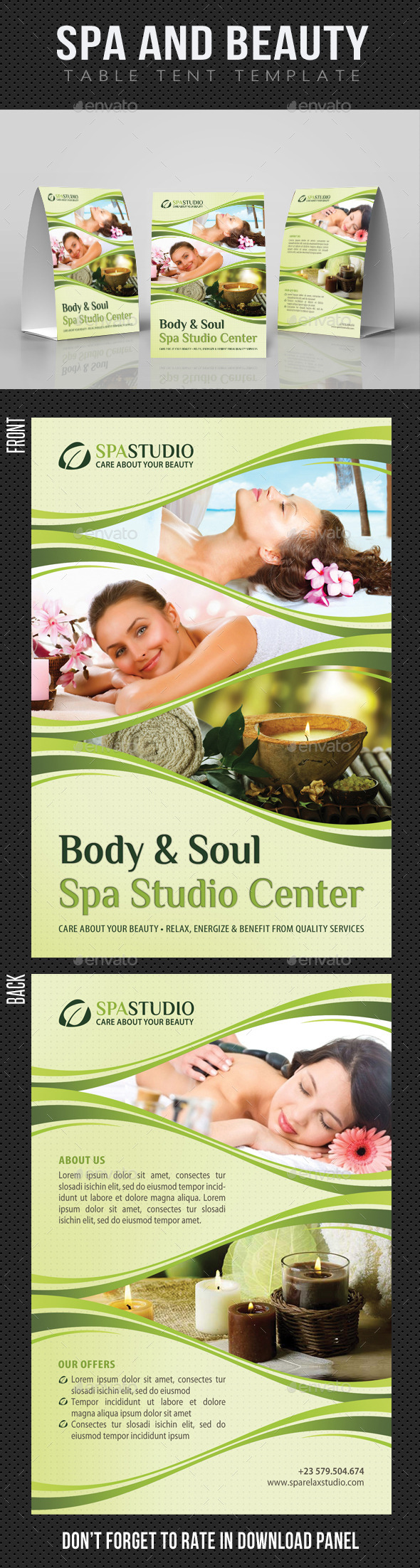 Spa And Beauty Table Tent Template 01 - Miscellaneous Print Templates