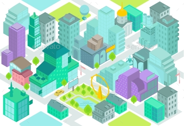 Set Of The Isometric City Buildings, Shops, Park - Buildings Objects