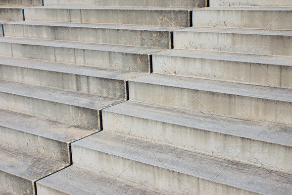 Detail of grey stairs - Stock Photo - Images