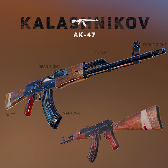 AK-47 Kalashnikov PBR Low-Poly Game Ready - 3DOcean Item for Sale