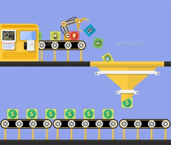 Start Up Concept. Money Making Conveyor - Concepts Business
