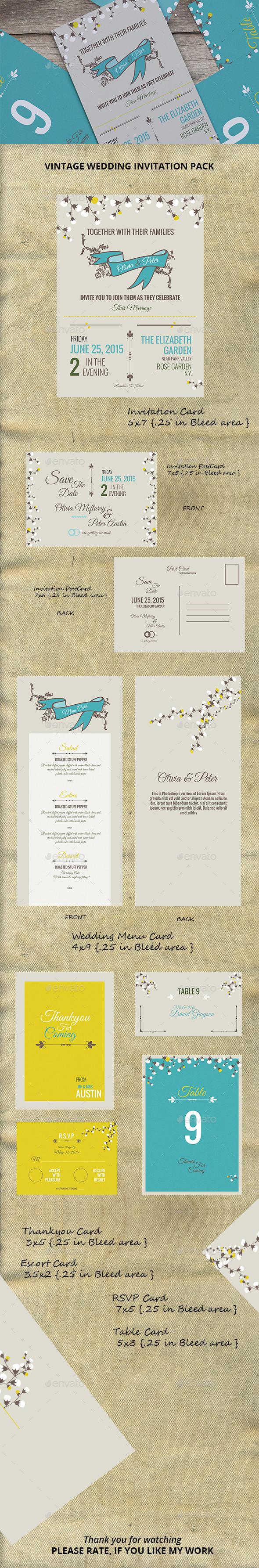 Vintage Wedding Invitation Pack - Cards & Invites Print Templates