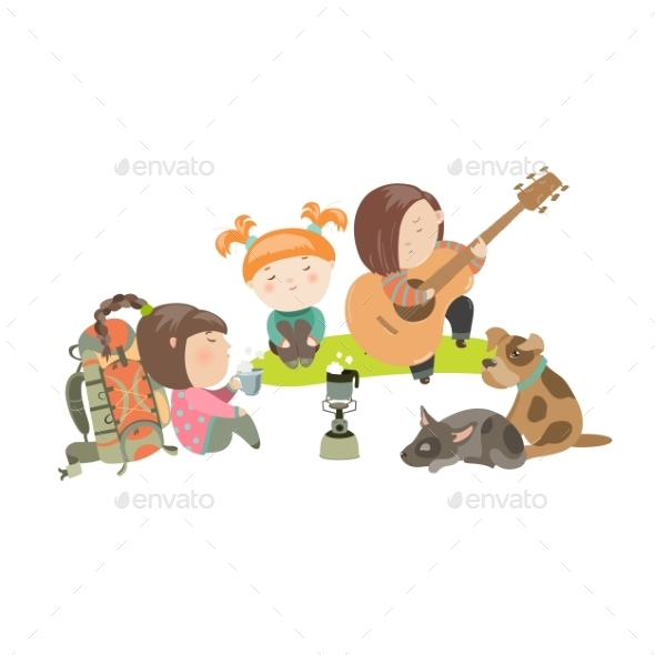 Kids On a Camping Trip With Dogs - People Characters