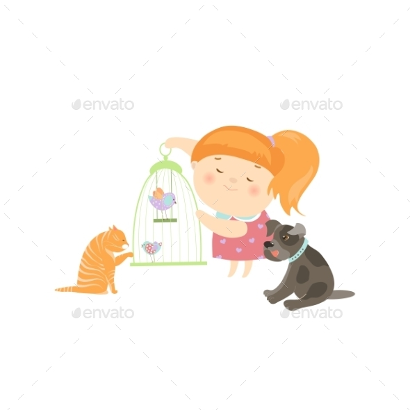 Cute Girl Surrounded By Different Types Of Pets - Animals Characters