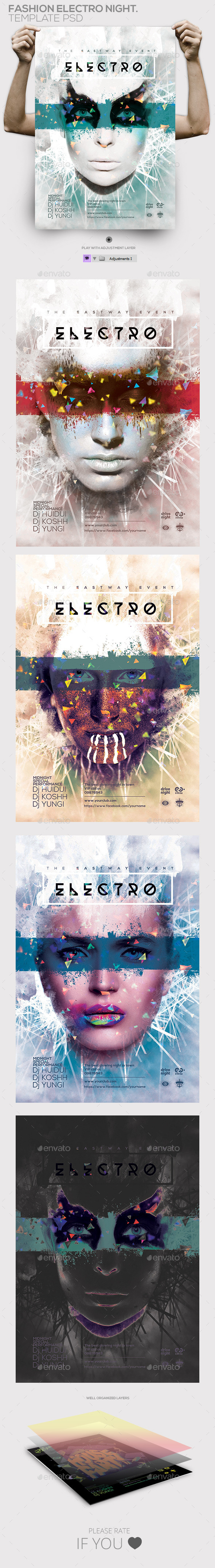 Electro Fashion Night Party Flyer / Poster  - Events Flyers
