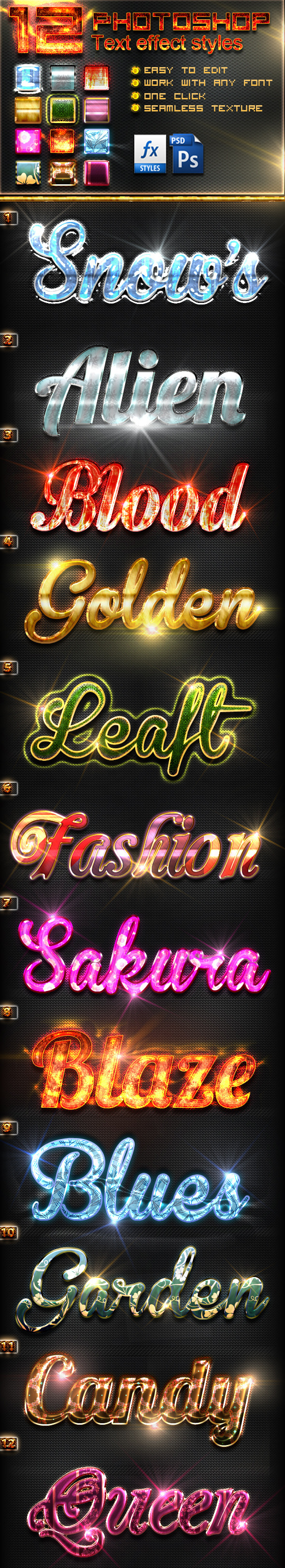 12 Photoshop Text Effect Styles Vol 14 - Text Effects Styles
