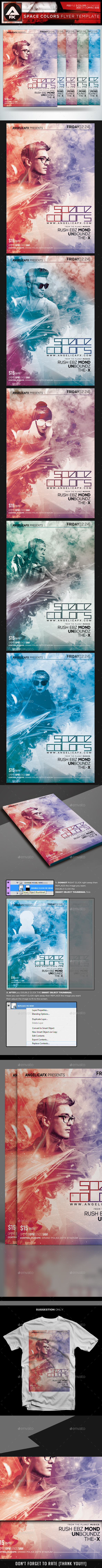 Space Colors Flyer Template - Flyers Print Templates