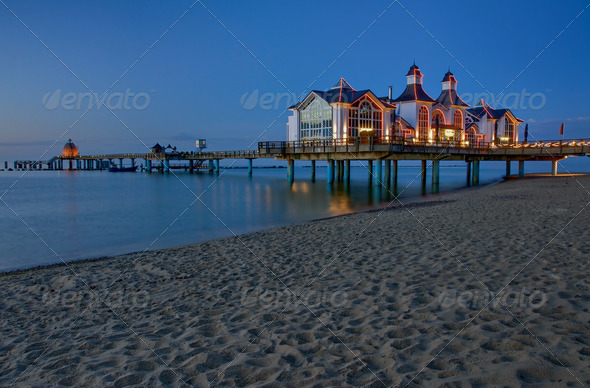 Pier with restaurant in Sellin, Baltic Sea, Germany - Stock Photo - Images