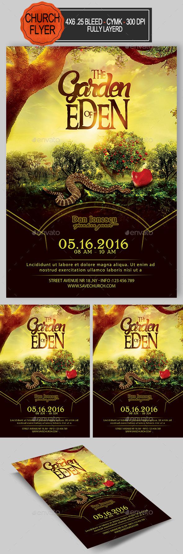 The Garden Of Eden Church Flyer  - Church Flyers