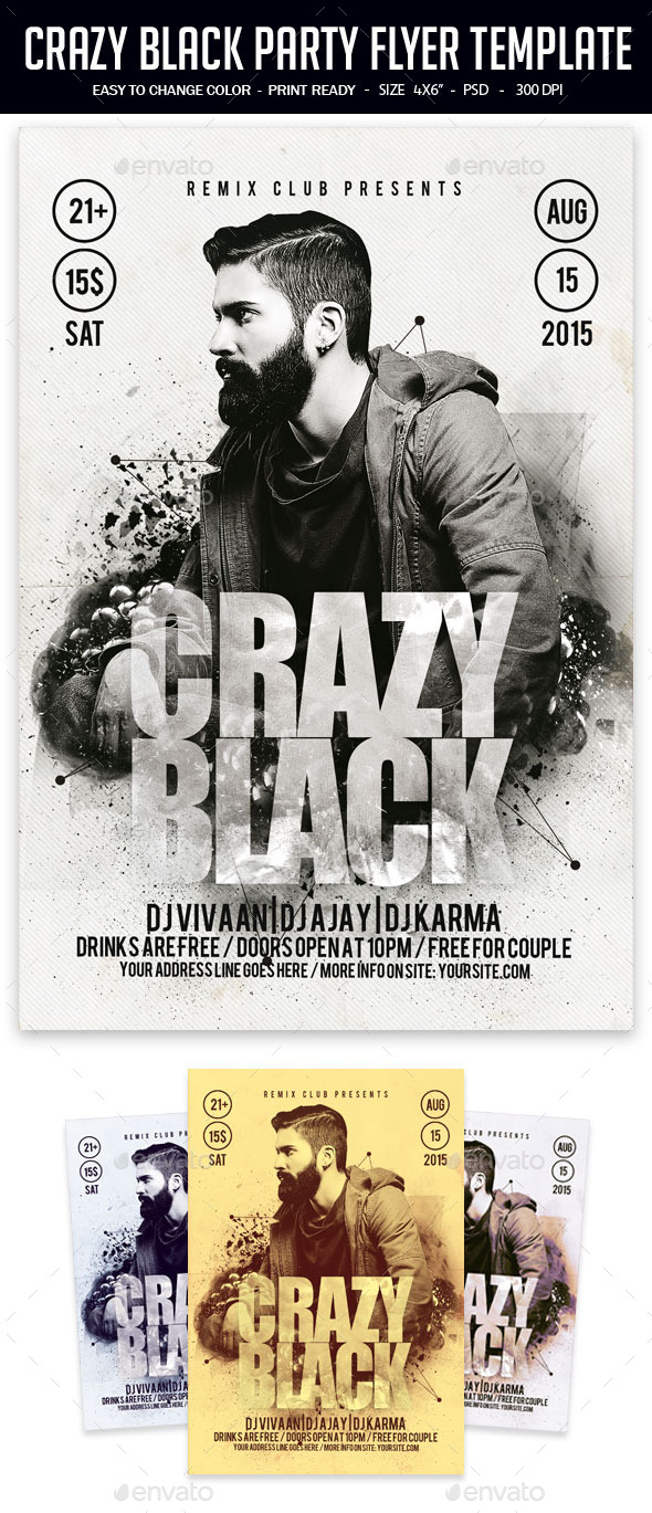 Crazy Black Party Flyer Template - Clubs & Parties Events