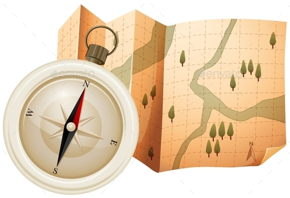 Map and Compass - Travel Conceptual