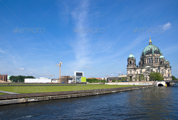 Berlins Dom, river Spree and the Schlossplatz - Stock Photo - Images