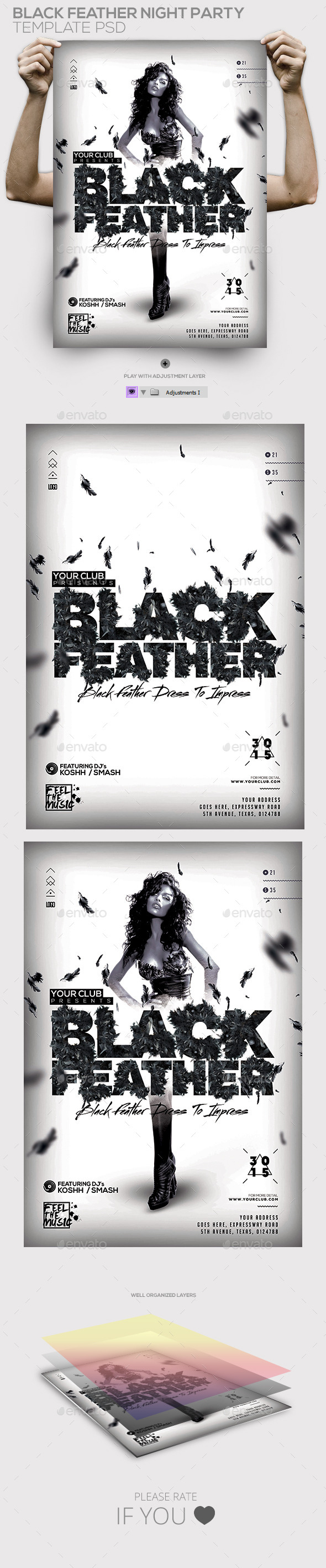 Black Feather Night Party Template - Clubs & Parties Events