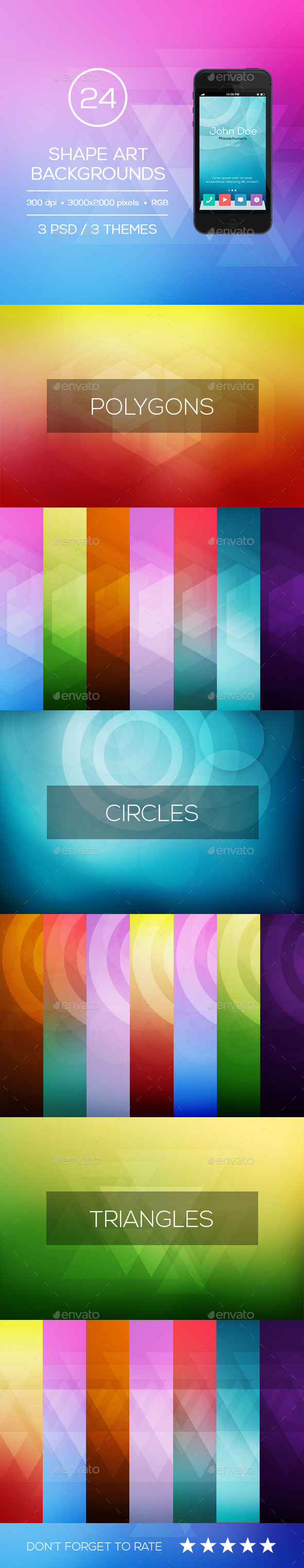 24 Shapes Art Background - with 3 PSD - Abstract Backgrounds