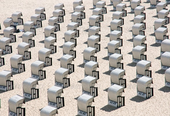 Beach chairs at the Baltic Sea, Germany - Stock Photo - Images