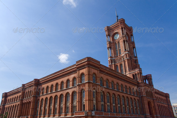 Townhall Rotes Rathaus in Berlin - Stock Photo - Images