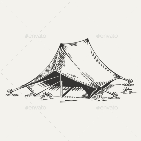 Illustration of Tent - Travel Conceptual