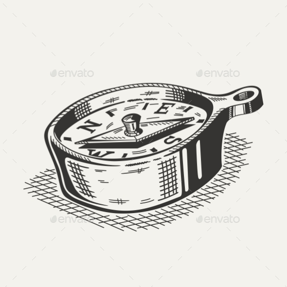 Illustration of a Compass on White Background - Man-made Objects Objects