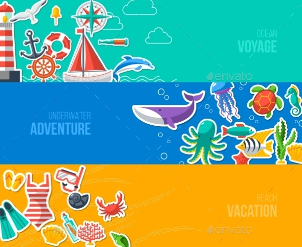 Summer Banners with Marine Symbols - Travel Conceptual