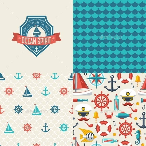 Seamless Patterns of Marine Symbols and Label - Patterns Decorative