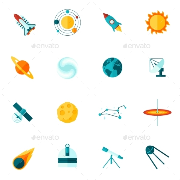 Space Universe Flat Icon Set - Objects Icons